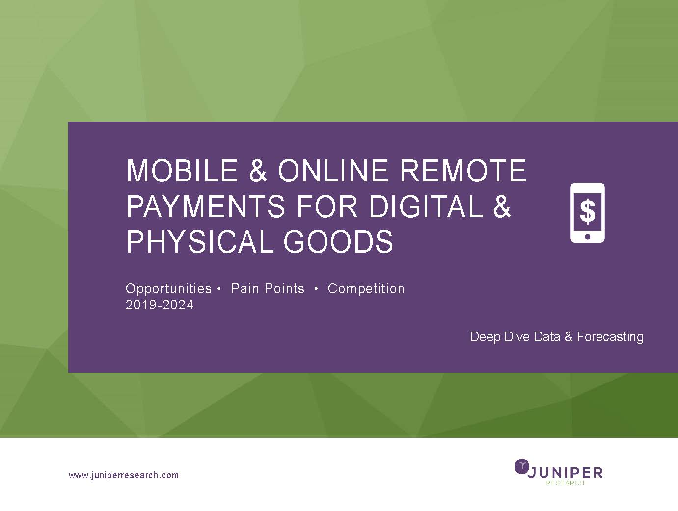 Mobile & Online Remote Payments for Digital & Physical Goods: Deep Dive Data & Forecasting 2019-2024