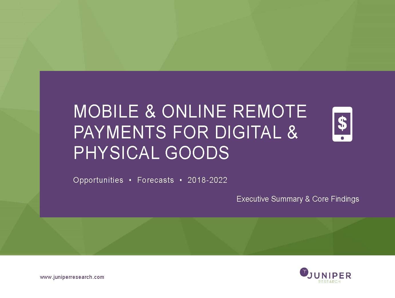 Mobile & Online Remote Payments for Digital & Physical Goods: Executive Summary 2018-2022